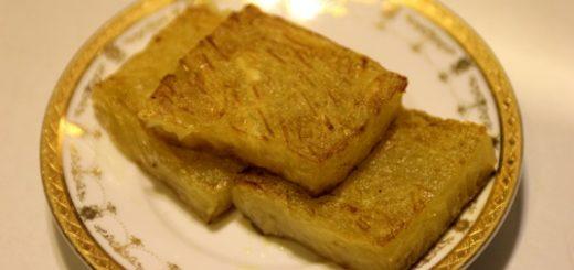 乍看很像是蘿蔔糕,其實這是馬蹄糕,可沾煉乳吃,不會過甜