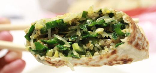 中間的餡料飽滿,尤其是韭菜,當天吃頗有辣度!完全不用任何沾醬就很好吃